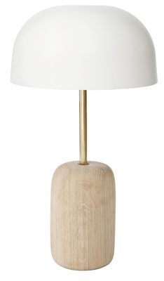 Luminaire - Lampes de table - Lampe de table Nina / Chêne & métal - Hartô - Blanc / Chêne & laiton - Chêne massif, Laiton, Métal laqué
