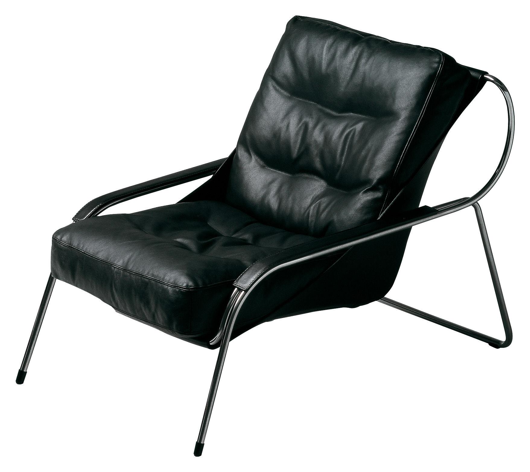Möbel - Außergewöhnliche Möbel - Maggiolina Lounge Sessel / gepolstert - Zanotta - Sessel - schwarzes Leder, Extra-Qualität - Leder, rostfreier Stahl