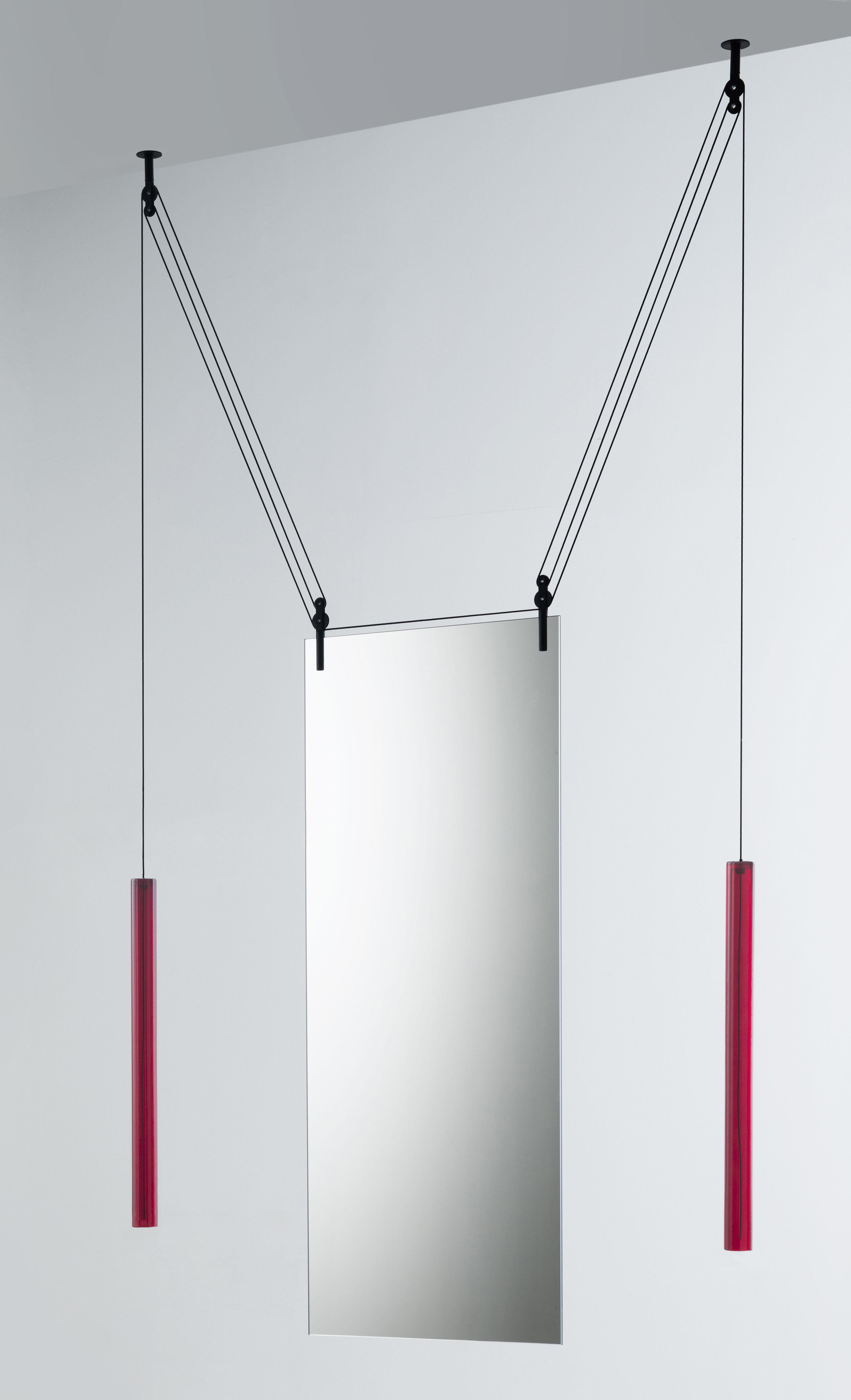 Déco - Miroirs - Miroir à suspendre Palanco H 125 cm / Double face - Réglable - Glas Italia - Cylindres rouges & câbles noirs - Aluminium teinté, Verre