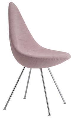 Furniture - Chairs - Drop Padded chair - Fabric / Reissue 1958 by Fritz Hansen - Light pink / Chromed legs - ABS plastic, Chromed steel, Fabric, Nylon