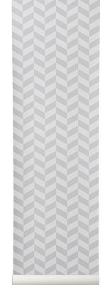 Déco - Stickers, papiers peints & posters - Papier peint Angle / 1 rouleau - Larg 53 cm - Ferm Living - Motifs gris / Fond blanc - Toile intissée