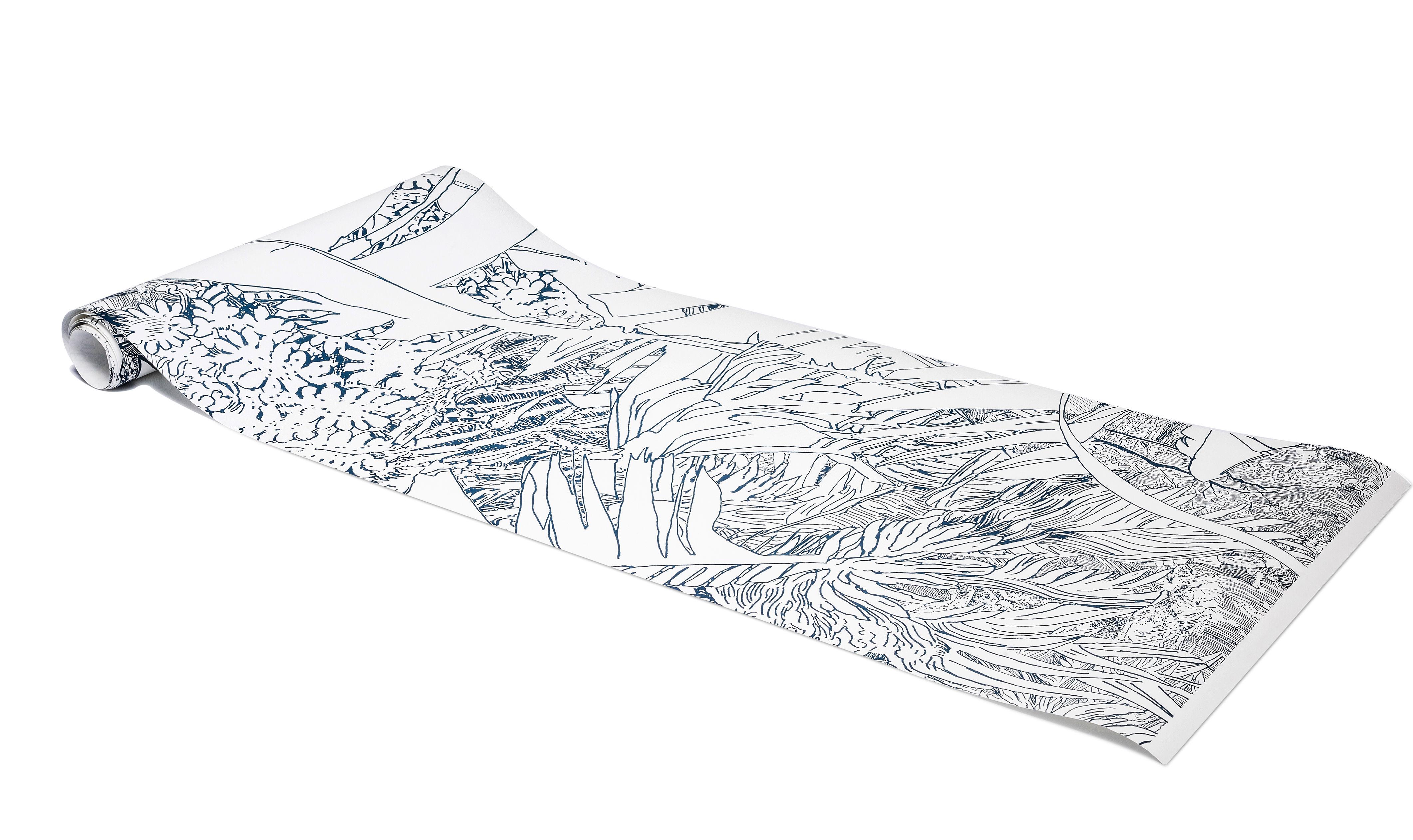 Papier Peint Jungle 2 1 Rouleau Larg 48 Cm Bleu Encre Fond