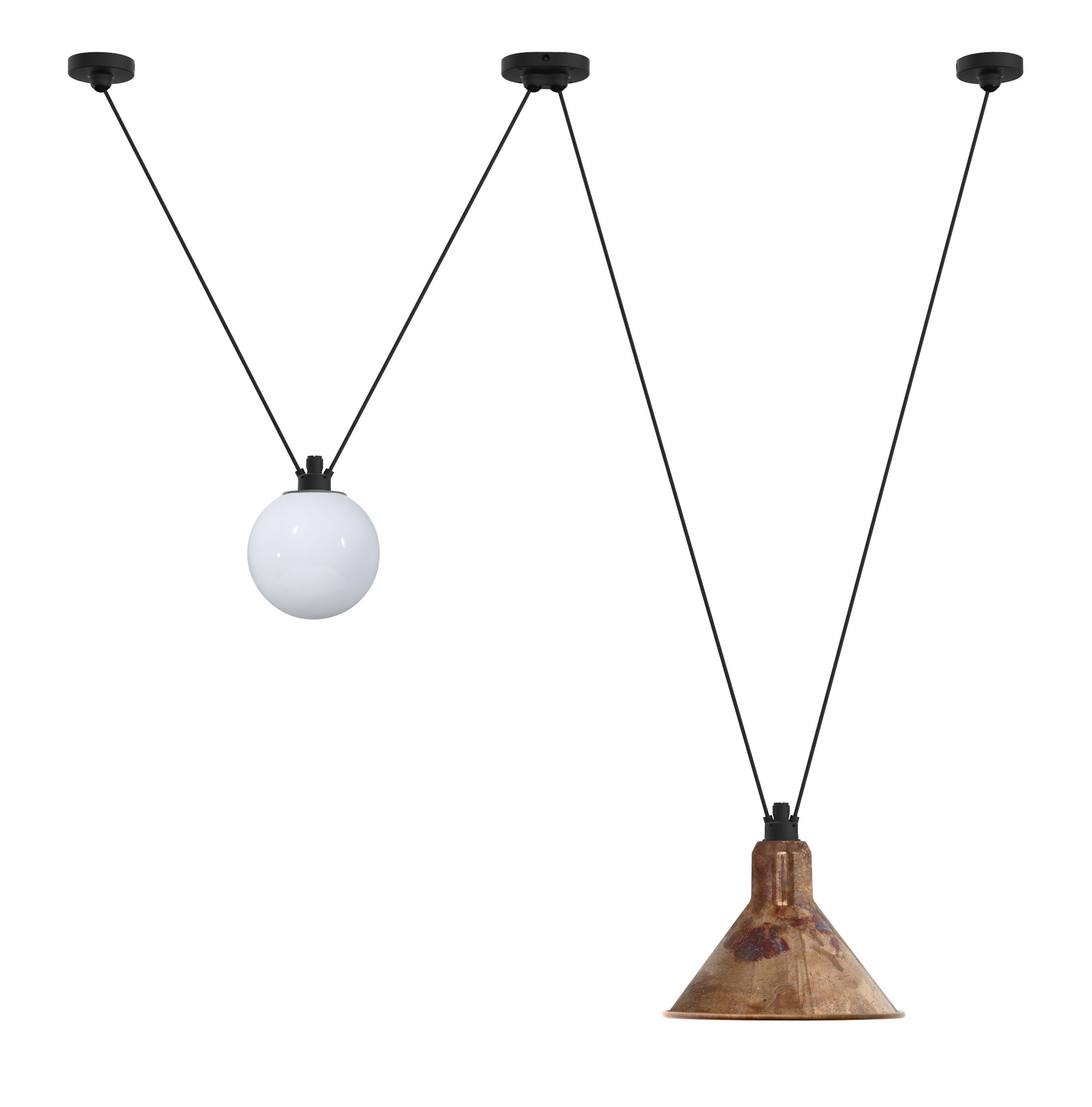 Lighting - Pendant Lighting - Acrobate N°324 Pendant - / Lampes Gras - 2 metal & glass shades by DCW éditions - Raw copper / White glass - Glass, Painted steel