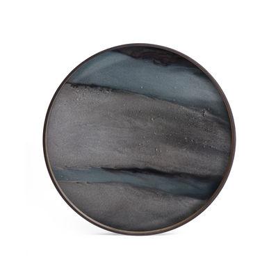 Plateau Graphite Organic / Ø 61 cm - Bois & verre peint main - Ethnicraft bleu en verre