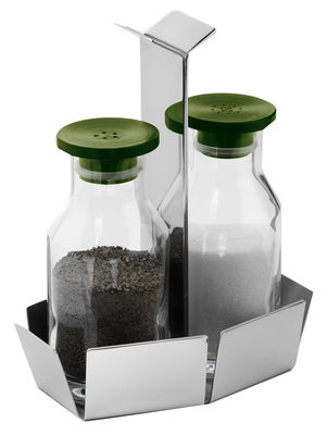 Egg Cups - Salt & Pepper Mills - Nozze Salt and pepper set - Salt & pepper set by Serafino Zani - Polished steel - Glass, Polished stainless steel