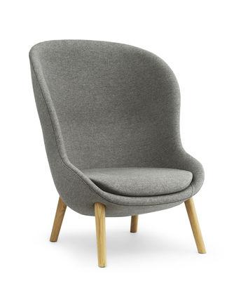 Möbel - Lounge Sessel - Hyg Sessel / Stoff - 4 Stuhlbeine aus Eiche - Normann Copenhagen - Grau / Eiche - Eiche, Gewebe, Polyurethan-Schaum