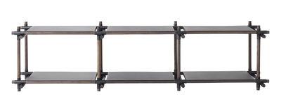 Furniture - Bookcases & Bookshelves - Stick System 3x2 Shelf - L 195 x H 58 cm by Menu - Black / Dark ash - Painted metal, Painted steel, Tinted ashwood