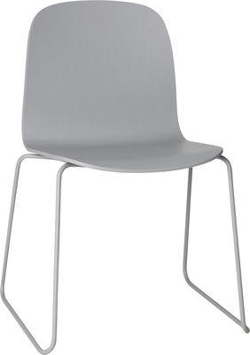 Furniture - Chairs - Visu Stacking chair - Wood / Sledge leg by Muuto - Wire base Grey/Grey - Painted steel, Varnished oak