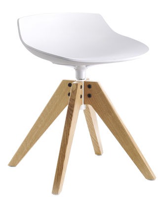 Furniture - Stools - Flow Stool by MDF Italia - White / Natural oak legs - Polyurethane, Solid oak