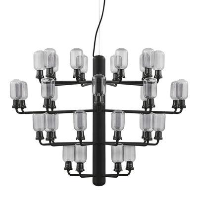 Luminaire - Suspensions - Suspension Amp Chandelier Large / Ø 85 cm - Marbre & verre - Normann Copenhagen - Noir / Verre fumé - Acier laqué, Marbre, Verre