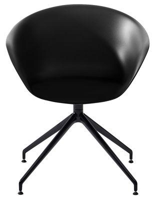 Furniture - Armchairs - Duna 02 Swivel armchair by Arper - Black / Black leg - Polypropylene, Varnished metal
