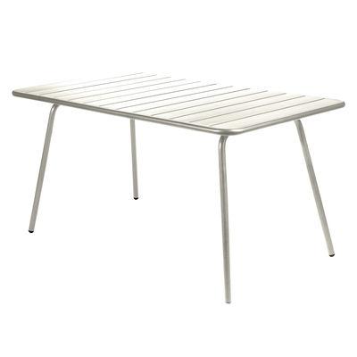 Table rectangulaire Luxembourg / 6 personnes - 143 x 80 cm - Aluminium - Fermob gris argile en métal