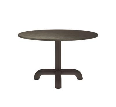 Mobilier - Tables - Table ronde Unify / Ø 120 cm - Chêne - Petite Friture - Gris brun - Acier laqué, MDF plaqué chêne