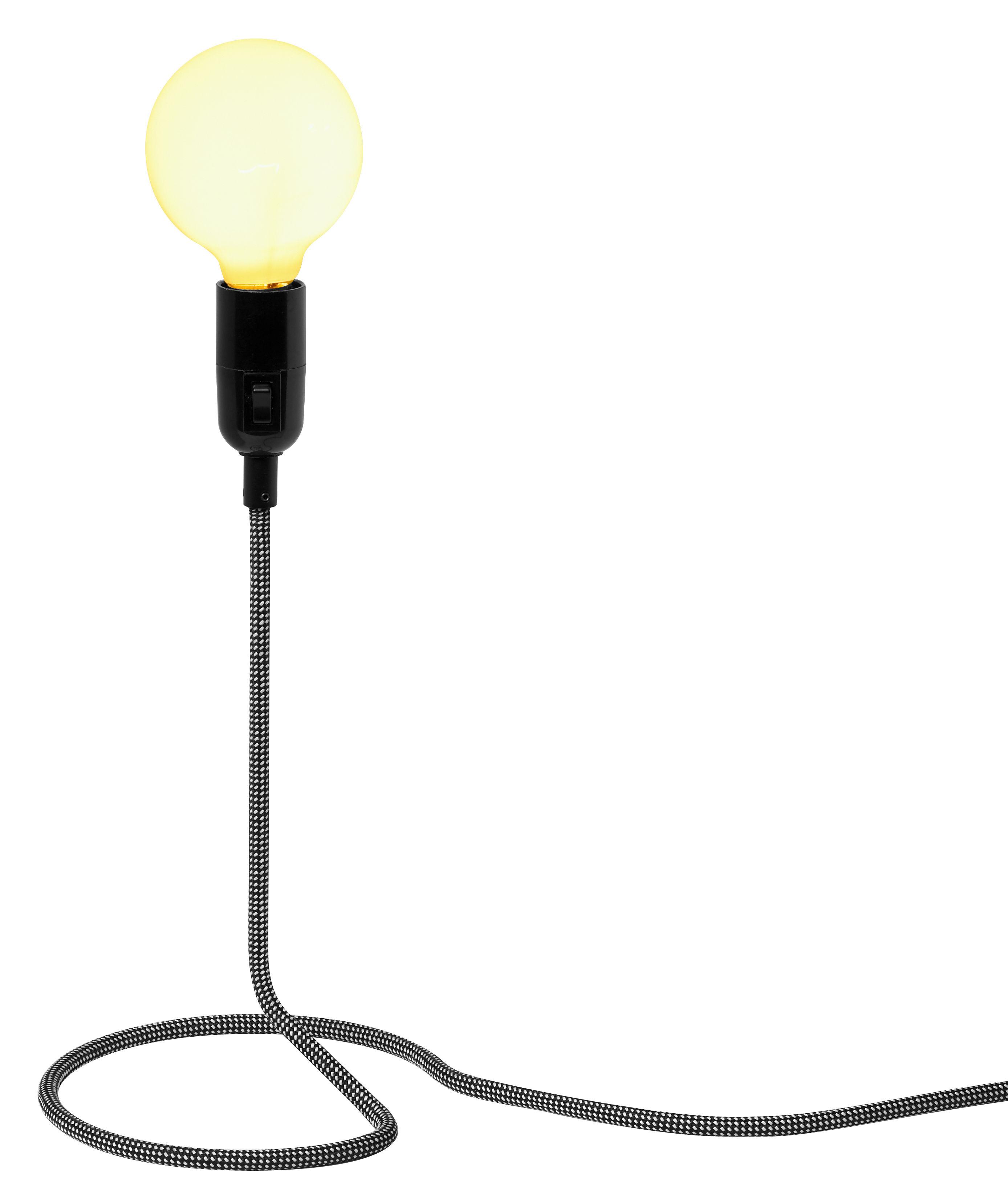 Leuchten - Tischleuchten - Cord Lamp Tischleuchte - Design House Stockholm - Schwarz-weißes Kabel - Baumwolle, Stahl