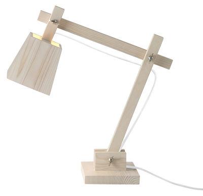 Wood Lamp Tischleuchte - Muuto - Weiß,Holz hell
