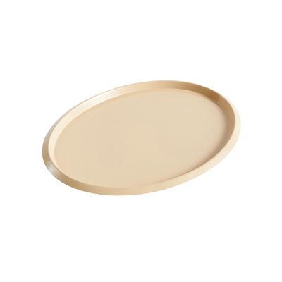 Tableware - Trays - Ellipse Medium Tray - / 31 x 24 cm - Metal by Hay - Beige - Painted steel