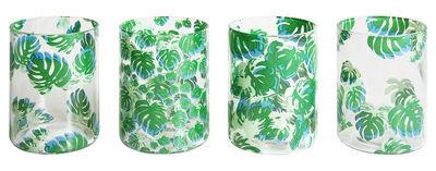 Verre Leaves / Set de 4 - & klevering vert en verre