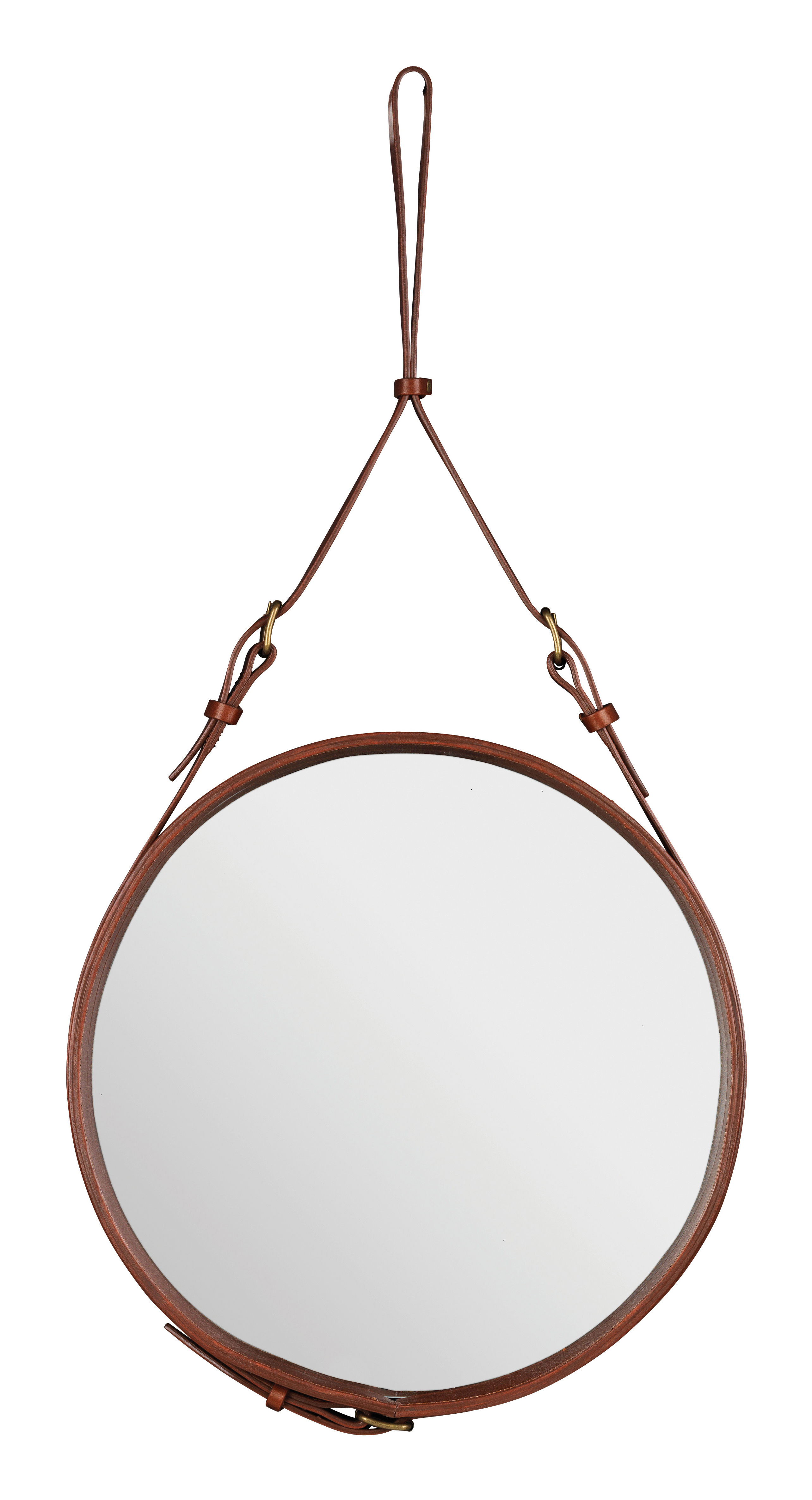 Furniture - Mirrors - Adnet Wall mirror - Ø 58 cm by Gubi - Brown - Leather
