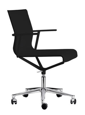 Furniture - Office Chairs - Stick Chair Armchair on casters - With castors - Leather seat by ICF - Black leather / Polished aluminium base / Black lacquered struct - Aluminium, Leather, Thermoplastic