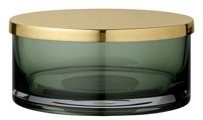 Boîte Tota Large / Cylindre - Ø 15,5 x H 7 cm - AYTM vert/or en métal/verre