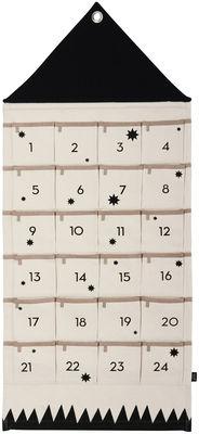 Déco - Pour les enfants - Calendrier de l'avent House / En tissu - Ferm Living - Beige / Noir - Coton