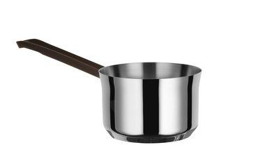 Cucina - Pentole, Padelle e Casseruole - Casseruola Edo - / Con lungo manico - H 11 cm - 1 L di Alessi - Acciaio / Manico marrone - Acciaio inox 18/10