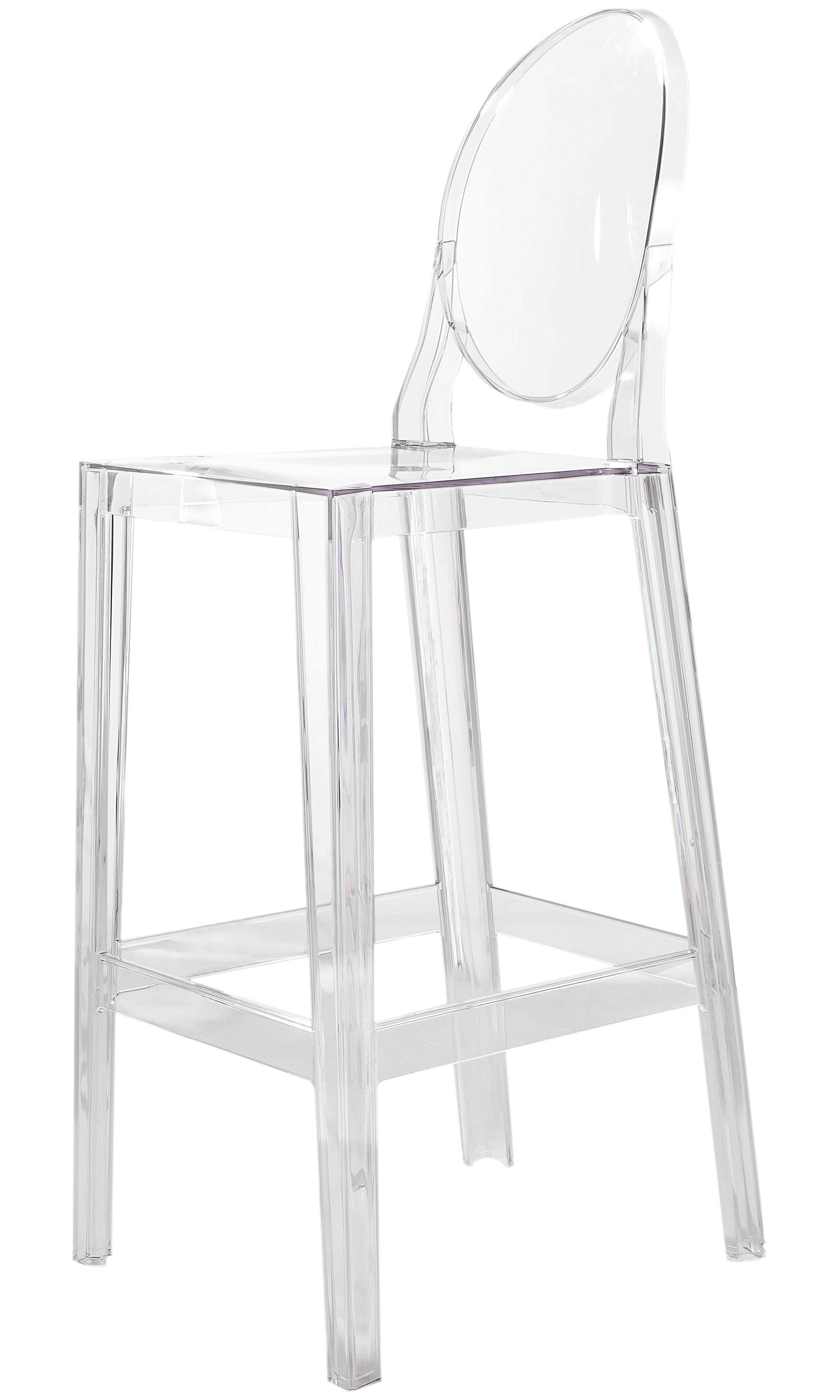 chaise de bar one more h 75cm plastique cristal kartell. Black Bedroom Furniture Sets. Home Design Ideas