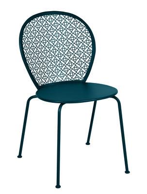 Mobilier - Chaises, fauteuils de salle à manger - Chaise empilable Lorette / Métal perforé - Fermob - Bleu Acapulco - Acier laqué