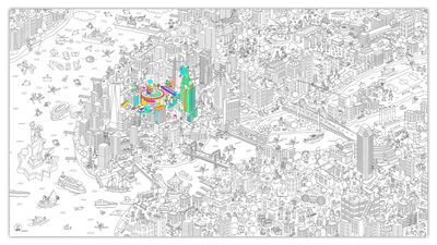 Decoration - Children's Home Accessories - XXL New York Colouring poster - / Giant - L 180 x 100 cm by OMY Design & Play - Black, White - Paper