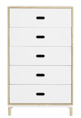 Commode Kabino / L 74 x H 127 cm - 5 tiroirs - Normann Copenhagen blanc/bois naturel en métal/bois