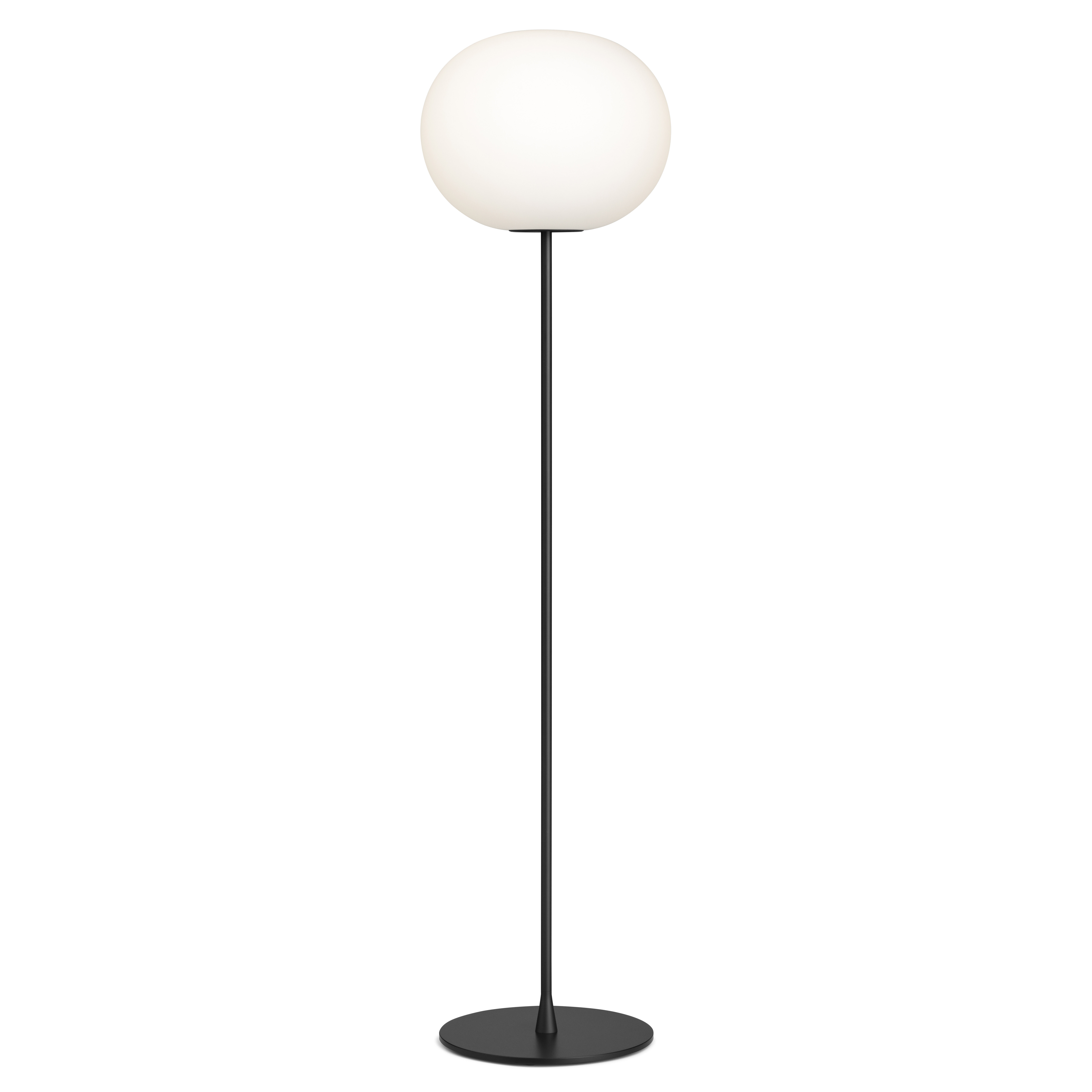 Lighting - Floor lamps - Glo-Ball F3 Floor lamp - / H 185 cm -Mouth-blown glass by Flos - Black - Mouth blown glass, Varnished steel