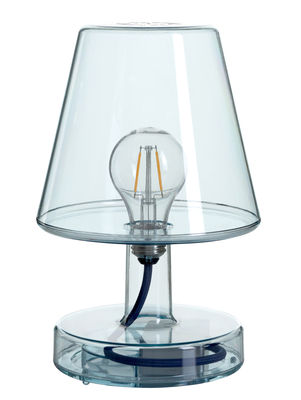Lampe sans fil Transloetje / LED - Ø 16 x H 25 cm - Fatboy bleu transparent en matière plastique