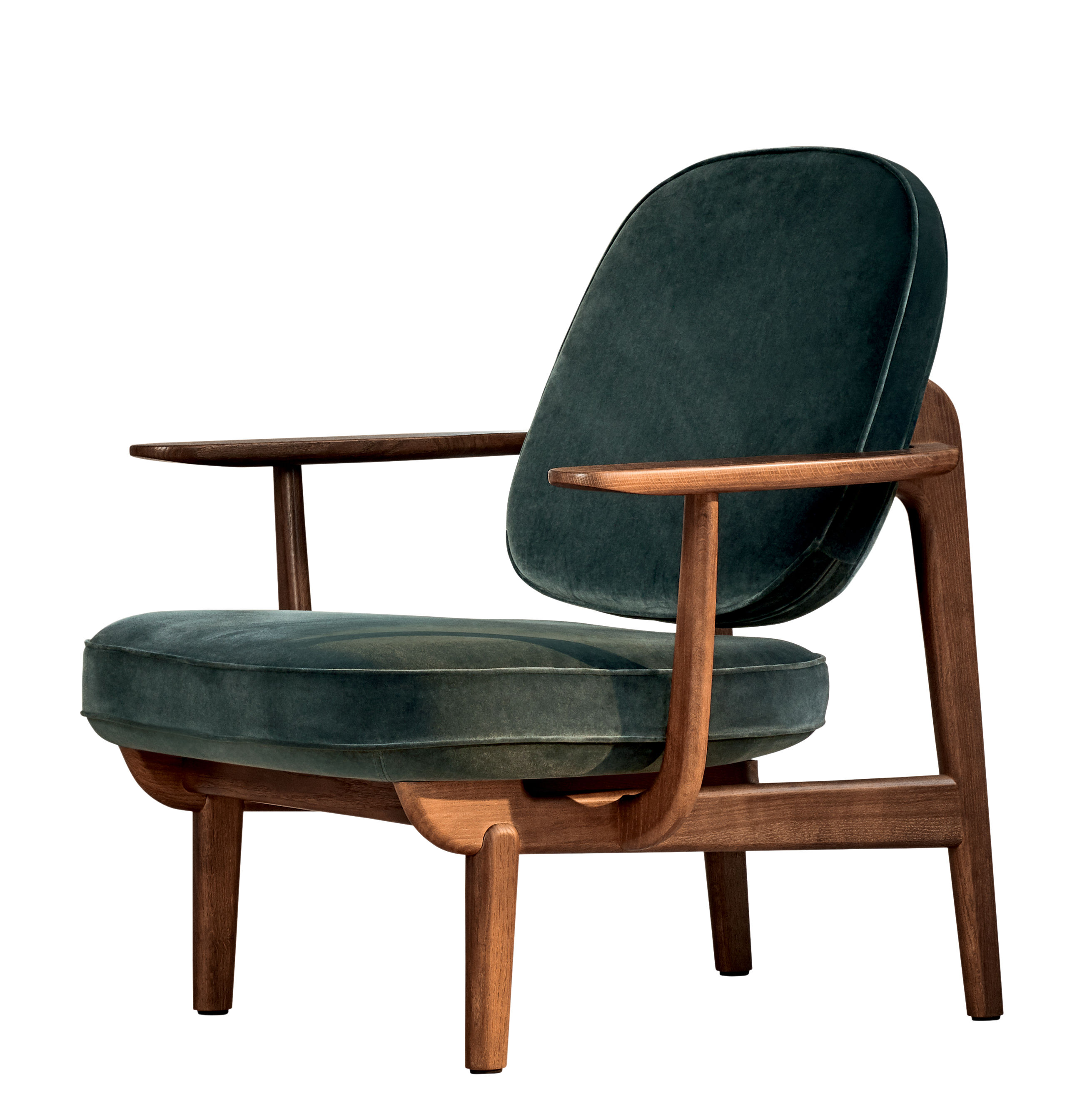 Furniture - Armchairs - JH97 Low armchair - by Jaime Hayon / Fabric by Fritz Hansen - Green / Walnut - Foam, Kvadrat fabric, Tinted oak wood