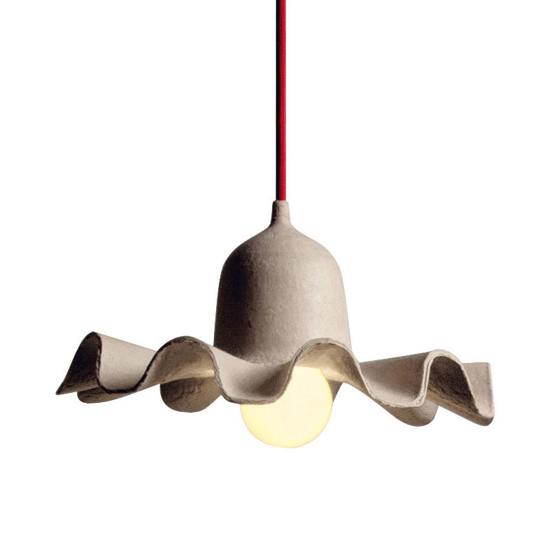 Lighting - Pendant Lighting - Egg of Columbus Pendant - Recycled cardboard - Ø 26,5 cm by Seletti - Shade natural beige / Red chord - Carton recyclé