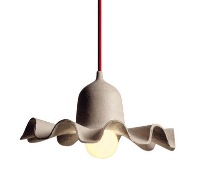 Leuchten - Pendelleuchten - Egg of Columbus Pendelleuchte / aus recycelter Pappe - Ø 26,5 cm - Seletti - Pappe natur / Kabel rot - Carton recyclé