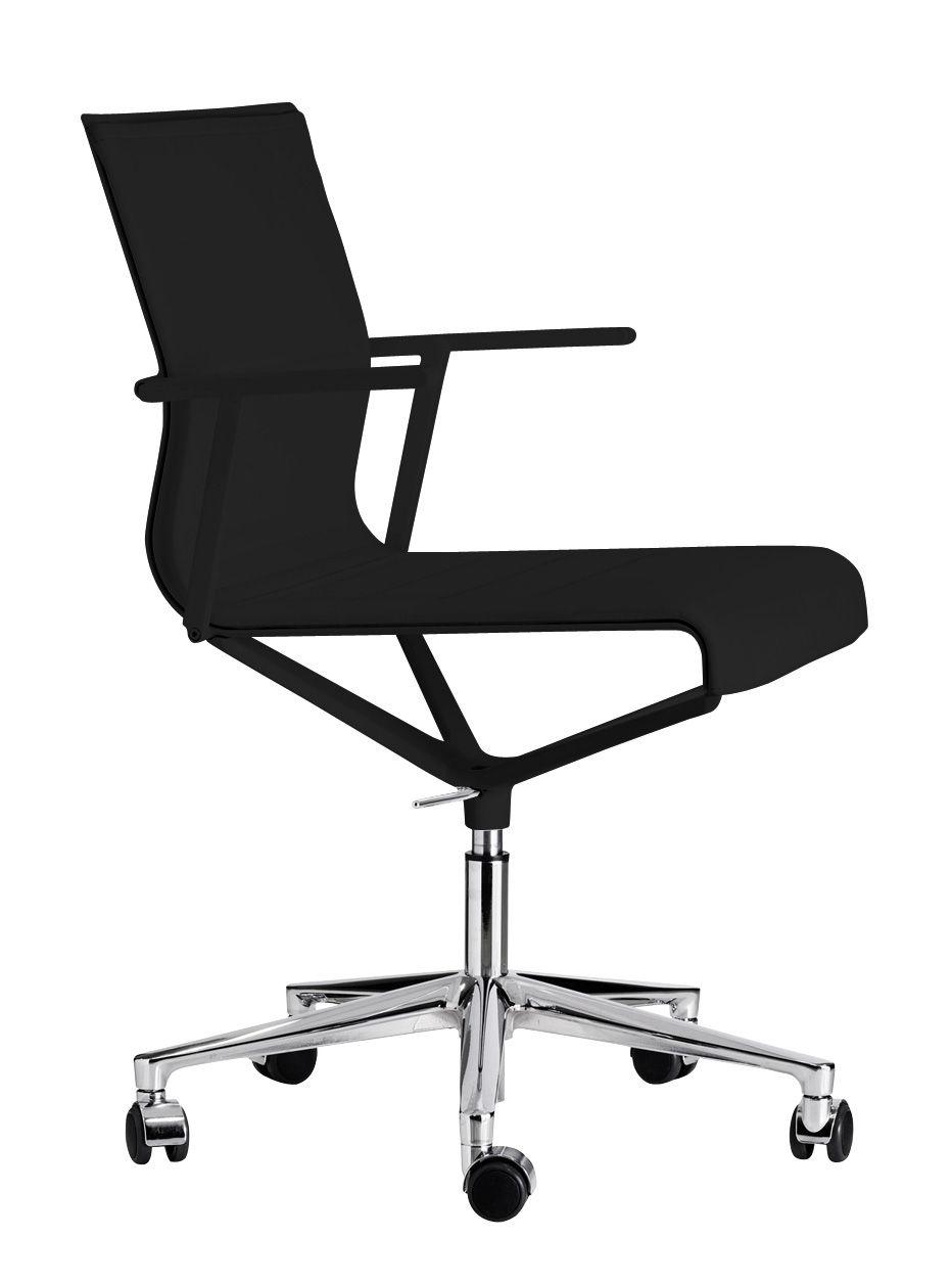 Arredamento - Sedie ufficio - Poltrona a rotelle Stick Chair - girevole - Seduta in cuoio di ICF - Cuoio nero - Base in alluminio - Struttura e braccioli in colore nero - Alluminio, Pelle, Termoplastica