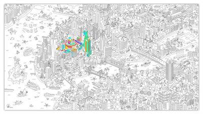 Poster à colorier XXL New York / 180 x 100 cm - OMY Design & Play blanc,noir en papier