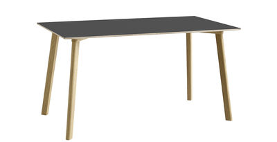 Trends - Take your seat! - Copenhague CPH DEUX 210 Rectangular table - 140 x 75 cm by Hay - Anthracite / Natural oak - Laminate, Solid oak, Stratified