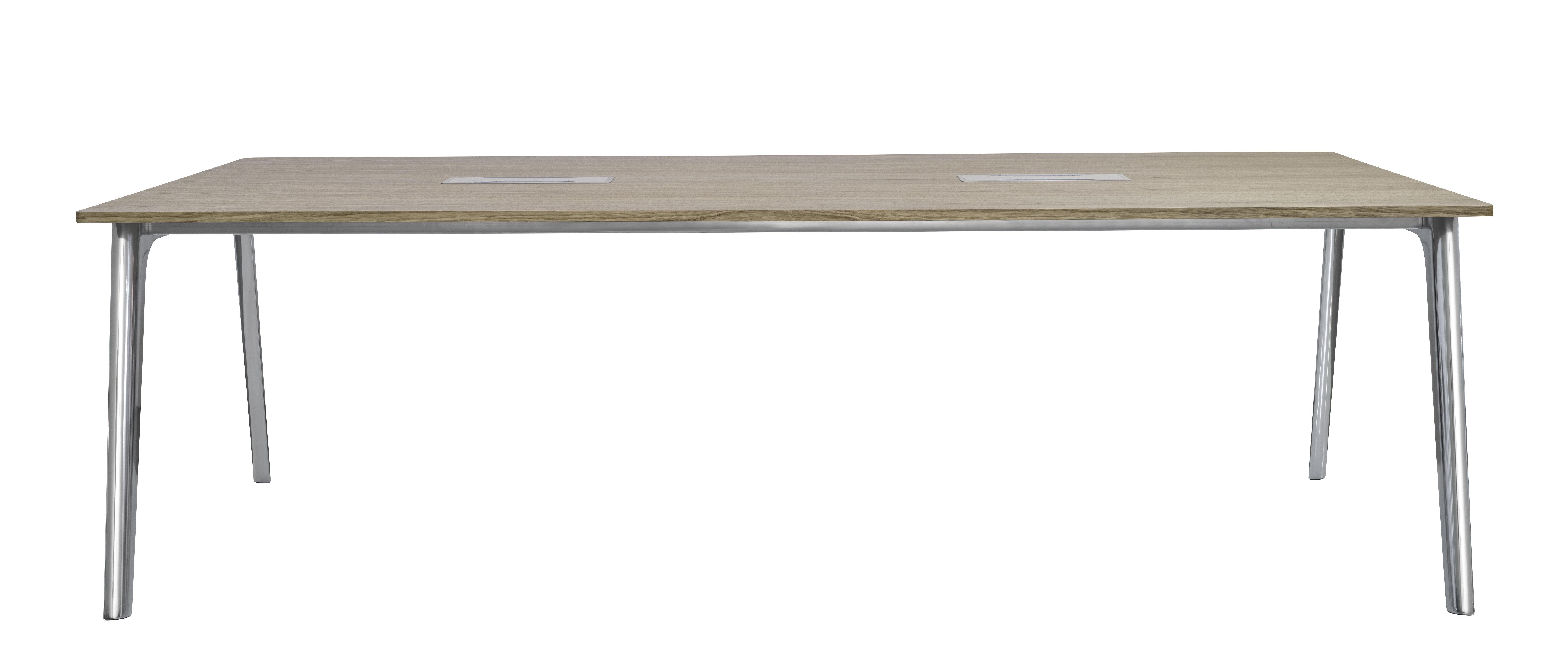 Arredamento - Mobili da ufficio - Scrivania Pluralis - / Scrivania - 200 x 100 cm - Rovere di Fritz Hansen - rovere / Gambe cromate - Alluminio cromato, Rovere verniciato