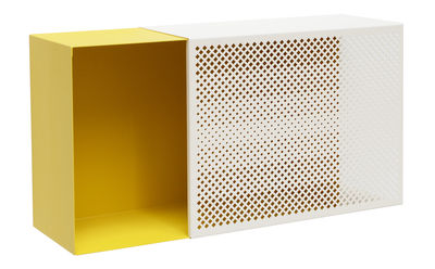 Furniture - Bookcases & Bookshelves - Perfo Ho Shelf - Microperforated sheet metal - 60 x 31 cm by Presse citron - Mustard / Beige - Lacquered steel