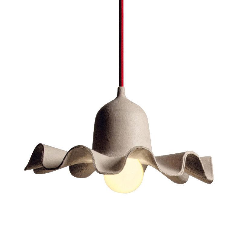 Illuminazione - Lampadari - Sospensione Egg of Columbus - / Cartone riciclato - Ø 26,5 cm di Seletti - Cartone naturale / Cavo rosso - Carton recyclé