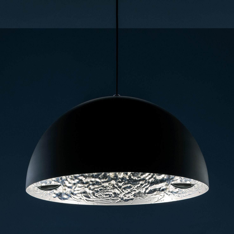 Illuminazione - Lampadari - Sospensione Stchu-moon 02 - Ø 80 cm di Catellani & Smith - Esterno nero / Interno argento - Alluminio, Foglio argentato, Schiuma di poliuretano