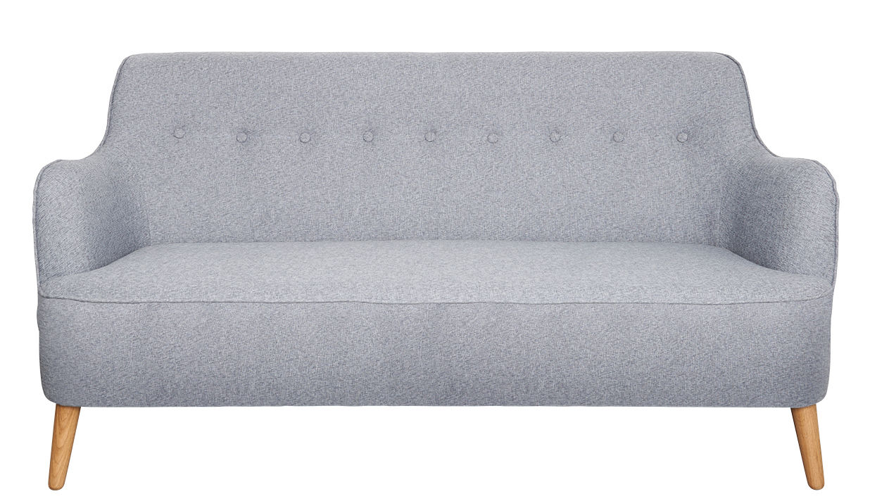 Furniture - Sofas - Quest Straight sofa - / L 161 cm by House Doctor - Grey blue - Polyester, Polyurethane foam, Solid oak