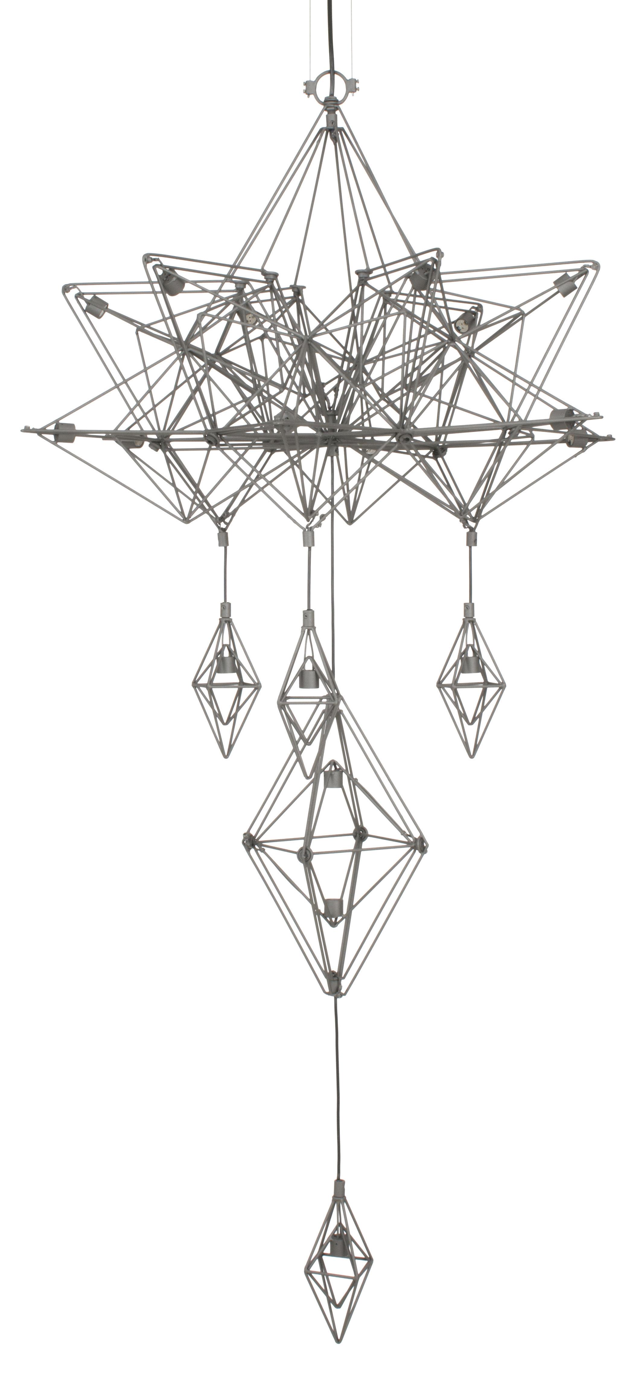 Luminaire - Suspensions - Suspension Himmeli / H 133 cm - Forestier - Gris - Fil de métal laqué