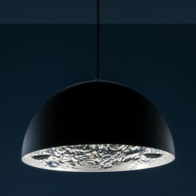 Luminaire - Suspensions - Suspension Stchu-moon 02 / LED - Ø 80 cm - Cuillères - Catellani & Smith - Noir & argent / Cuillères métal - Aluminium, Feuille argentée, Mousse polyuréthane