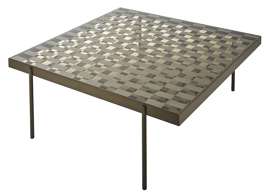 table basse fragment verre motif damier 104 x 104 cm damier bronze transparent glas. Black Bedroom Furniture Sets. Home Design Ideas