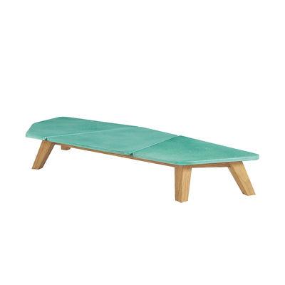Table basse Rafael Large / 170 x 70 cm - Pierre de lave & teck brossé - Ethimo vert en pierre