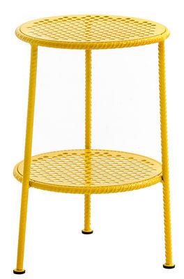Arredamento - Tavolini  - Tavolino d'appoggio Work is Over - / Metallo - Ø 37 cm di Diesel with Moroso - Giallo - Acciaio verniciato