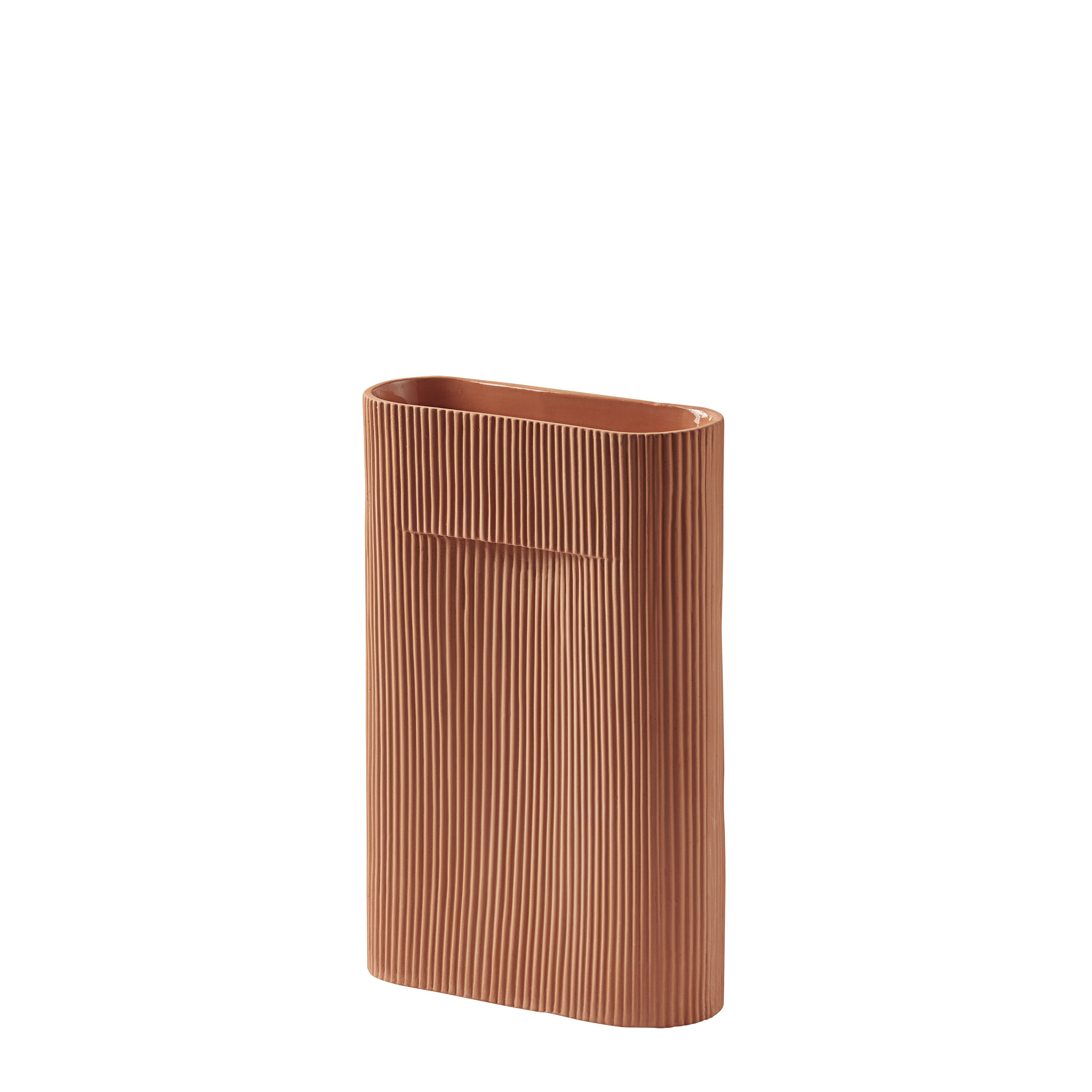Decoration - Vases - Ridge Small Vase - / H 35 cm by Muuto - Terracotta - Terracotta