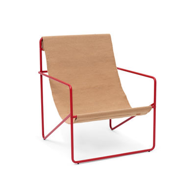 Furniture - Armchairs - Desert Armchair - / Red structure - Recycled plastic bottles by Ferm Living - Red metal / Plain Taupe Fabric - Powder coated steel, Recycled fabric